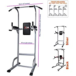 Xn8 Sports Power Tower Dip Station Chin Up Bar Adjustable VKR Station Abs Workout Knee Crunch Triceps Station (Silver:)