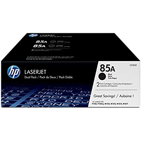 HP CE285AD - Pack de ahorro de 2 cartuchos de tóner original LaserJet HP 85A, negro