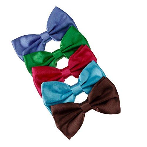 DBF2006 Bow Tie Shop Blau, Grün, Fuchsia, Hellblau, Braun Solid Poly Vorgebundenes Bowtie Geschenkbox Set 5T Von Dan Smith Hellblau Cummerbund-set