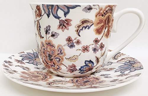 Rainbow Decors Ltd Autumn Forever Frühstückstasse und Untertasse aus feinem Porzellan, große Tasse, Untertasse, Blaue und braune Blumen, handdekoriert in Großbritannien