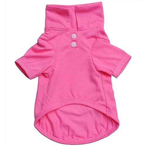 (Stale Haustier Kleidung Hund Einfarbig Poloshirt Bekleidung Revers Kostüm Hund Kleidung T-Shirt Lässige Puppy Suit Baumwollkleidung Gemütliches Hemd Pink XS)
