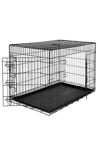 dibea DC00494, Gabbia di transporto pieghevole per cani cuccioli con 2 porte e vaschetta rimovibile in plastica, Taglia (XXL) 106 x 71 x 77 cm