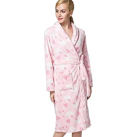 LIUDOULas señoras franela Albornoz Albornoz impresión tie-pijama de paño grueso y suave coralino , 4# ,