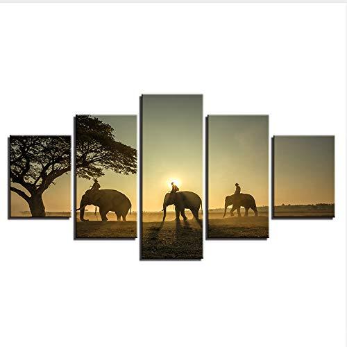 Rureng Fotos De Lienzo Decoración del Hogar Modular 5 Piezas Elefantes Pinturas...
