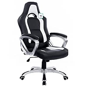 Cherry Tree Furniture Designed Racing Sport Gaming Swivel Office Chair Computer Desk Chair in Black White Color