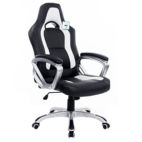 Brand New Designed Racing Sport Swivel Office Chair Computer Desk Chair in Black White Color