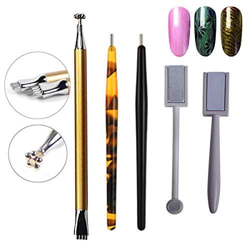 5 Stück Nagel Magnet Stick Set, Mwoot Nagel-Magnet-Stift und starker Magnet-Stock-Punktierungsstifte für DIY 3D magnetisches Katzenauge-UVgel-Polnisch-Nagel-Kunst