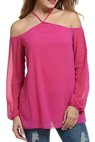 HOTOUCH Damen Neckholder Chiffonbluse Schulterfrei Langarm Casual T-Shirt Blusenshirt Typ1-Rosenrot