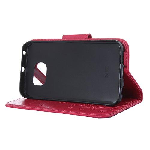 Samsung Galaxy S6 Cover Protettiva, Alfort 2 in 1 Custodia in Pelle Verniciata Goffrata Farfalle e Fiori Alta qualità Cuoio Flip Stand Case per la Custodia Samsung Galaxy S6 Ci sono Funzioni di Suppor Rosso