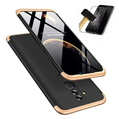 Huawei Mate 20 lite hülle, DYGG 360 Grad Schutz Schutzhülle Ultra dünn Soft PC Hartgummi handyhülle Case Cover + Bildschirmschutzfolie-Schwarzes Gold