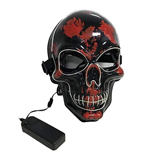 jinclonder Halloween Maske Leuchtend geführt, Halloween Ghost Maske Rollenspiel Maske Taro Prom Kopf blutige Maske für Party Bar Cosplay Kostüm (Liste Aller Halloween-kostüm)