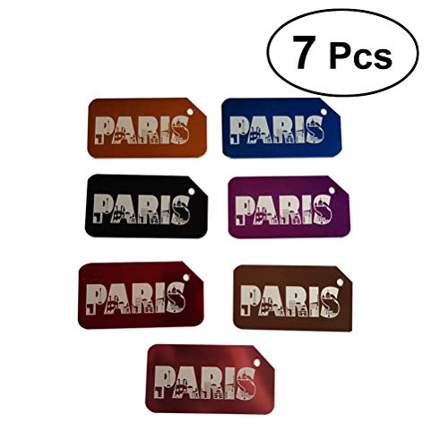 LIOOBO Gepäckanhänger Legierung Metall ID Bag Tag Paris Muster Reisegepäck Identifier 7pcs - Paris, Tag, Tasche