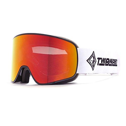 Two Bare Feet Schalter austauschbar Objektiv Snow Skibrille, Damen Herren, Black/Revo Red