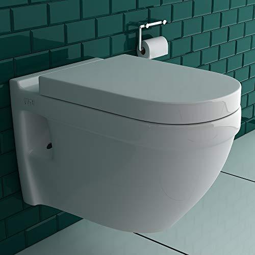 Vitra S50 Spülrandloses Hänge-Dusch-WC mit integrierter Taharet-Bidet Funktion für Intimdusche | Vitra Quick-Release WC-Sitz mit SoftClose Absenkautomatik | inkl.Bidetschlauch für Bidetfunktion