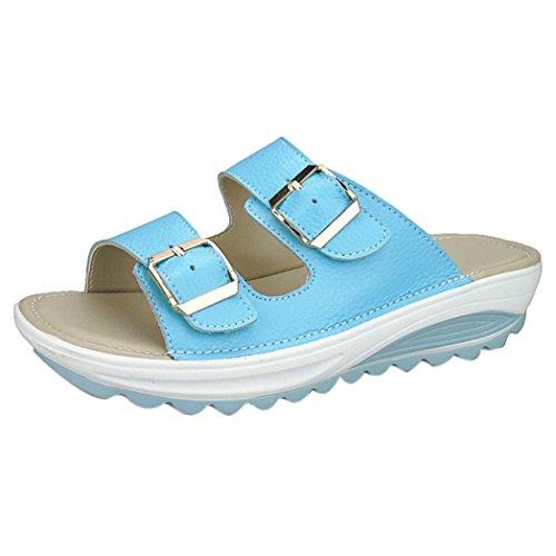 n Freizeit Sandalen Frau Mädchen Mode Runder Zeh Leder Hausschuhe Weich Gemütlich Rutschfest Beiläufig Strand Schuhe (EU39/CN40, Blau) (Damen Disney Hausschuhe)