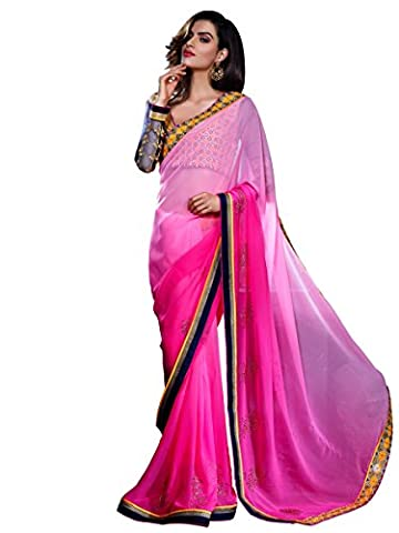 Stylee Lifestyle Pink Georgette Embroidered Saree