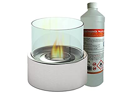 Luxury Table Glass Fireplace Approx.16 cm Including1L bio ethanol Table Lamp for a cosy atmosphere