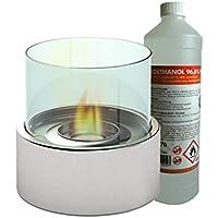 Luxus Tischkamin / Glaskamin ca. 16 cm inkl. 1Liter Bio-Ethanol, Tischfeuer für eine behagliche Atmosphäre