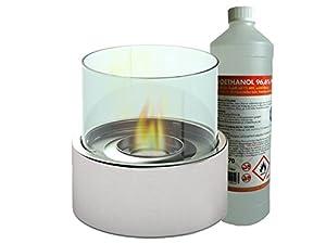 Dieser edle Tischkamin (inkl. 1 Liter Bioethanol) bietet eine sichere und dekorative Idee für reine Gemütlichkeit in Ihrem Zuhause. Schaffen Sie mit diesem Bio Ethanol Kamin eine gemütliche, intime Atmosphäre in Ihrem Wohnzimmer oder auch auf der Ter...