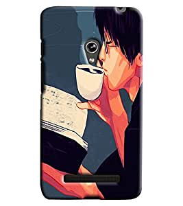 Blue Throat Boy Drinking Coffee Printed Designer Back Cover/ Case For Asus Zenfone 5