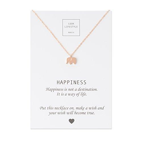 LUUK LIFESTYLE Edelstahl Halskette mit Elefanten Anhänger und Happiness Spruchkarte, Glücksbringer, Damen Schmuck, rosé (Einen Elefanten)