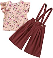 Baby Girl Clothes Set, Toddler Kids Sleeveless Floral Tops+Solid Overalls Pants Outfits Set