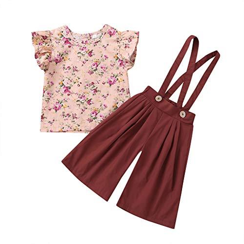 Julhold Sommer Kleinkind Baby Mädchen Mode Elegant Ärmellos Floral Tops + Solid Overalls Hosen Kleidung Outfits 0-4 Jahre -