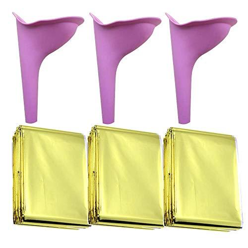 Kagni Couverture de Papier d'aluminium de Secours 3pcs avec l'urinoir des Femmes 3pcs pour uriner en Toute sécurité Tout en restant Debout ou accroupi pour des activités de Plein air randonnée