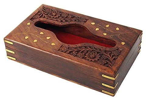 Homey Handmade Wooden Kleenex Tissue Box Holder Cover with Brass Inlay & Velvet Interior