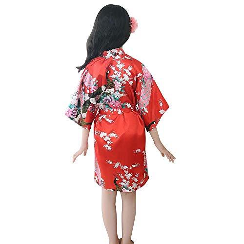 Kleinkind Kinder Mädchen Bademantel Baby Nachtwäsche Kleidung,Tonsee Elegant Blumendruck Silk Satin Kimono Roben Weich Bequem Pyjamas Nachthemd Kleider mit Gürtel (3-4T, Rot) (4t Kleinkind Robe)