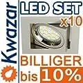 10er Set K-23 Einbaustrahler 15p Smd Led Warmweiss Inkl Gu10 230v Fassung - Nickel Matt Innox von Kwazar