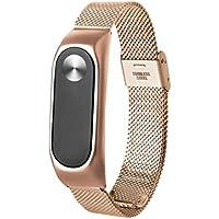 Correas xiaomi Band 2, ☀️Modaworld Nueva Pulsera Ligera de Acero Inoxidable de Moda Correa de Reloj Inteligente Correa de Repuesto para Xiaomi MI Band 2 (Oro)