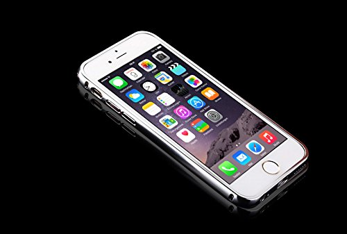 Minto Luxus Aluminium Metall Spiegelhülle Schutzhülle + Panzerglasfolie iPhone 5 / 5S / SE Spiegel PC Rückseite Case Cover Hülle Gold + Metall Bumper Rahmen Echtglas Hartglas Schutzfolie 9H Silber -i6+