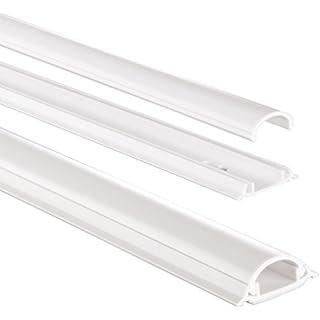 Hama Kabelkanal selbstklebend PVC (Kabelabdeckung halbrund 3,5 cm x 100 cm, bis zu 2 Kabel in einer Leiste, Kabelschacht zum verstecken von Kabeln) weiß