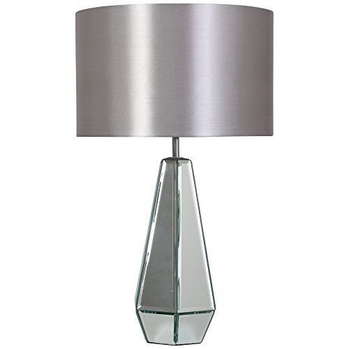Grey table lamp amazon kliving glendale mirrored table lamp with grey matching shade home lighting mozeypictures Gallery