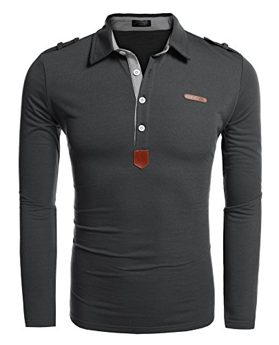 COOFANDY Herren Poloshirt elegante Langarmshirts regular fit Langarmpolo für Männer Dunkelgrau