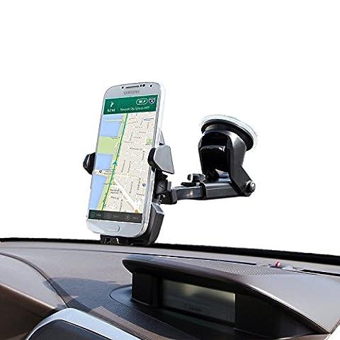 InnoMagi- Support Téléphone Voiture Auto Universel Angle Réglable avec Rotation à 360 - Compatible avec Tous Les Appareils à Largeur de 40-100 mm, iPhone, Samsung Galaxy S6/S6, Note, Huawei, LG G4/G3, HTC one plus, GPS, etc