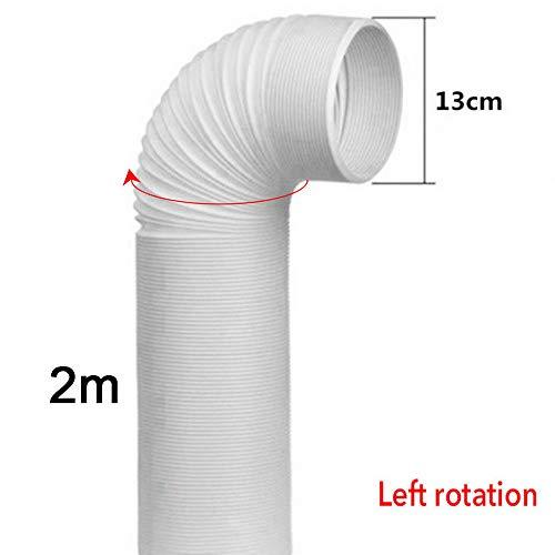 Lifemaison Abluftschlauch Luftschlauch Lüftungsschlauch für Klimageräte Wäschetrockner Im Uhrzeigersinn Durchmesser 13cm Länge 2m Weiß 1 Stück