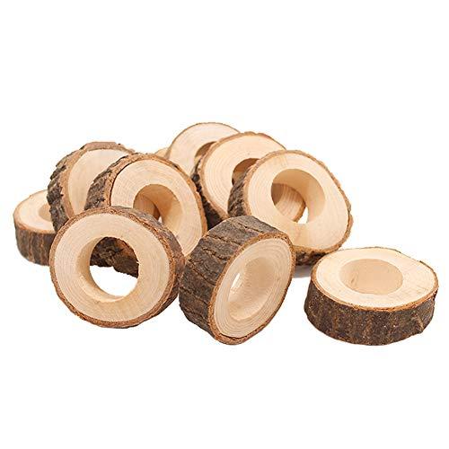 Kentop 10Stk Serviettenringe Holz Serviettenhalter rohen Holz Servietten Ringe für Hotel Hochzeit Geburtstag Weihnachten Party Tisch Dekoration