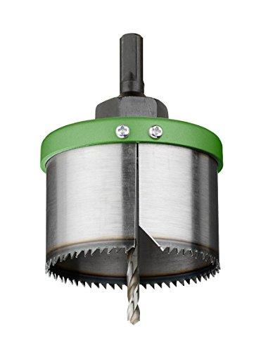 kwb Lochsäge-Set – Wolfrahm-Stahl, Durchmesser-Größe 68 – 100 mm, mit Aufnahme und HSS Stahl Zentrier-Bohrer