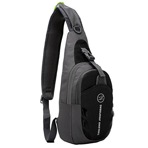 Tibes Sport Crossbody Tasche Leichte Sling Bag Tasche Frauen Brust Pack Nylon Wasserdichte Geldbörse für Männer / Mädchen Schwarz