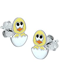 Chicken and Egg Earrings - Sterling Silver - Yellow