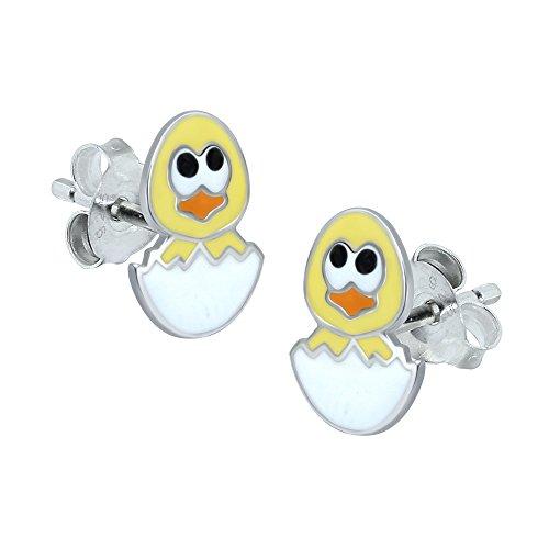 Gelb Küken und Ei Ohrringe–Sterling Silber (Küken Junge)
