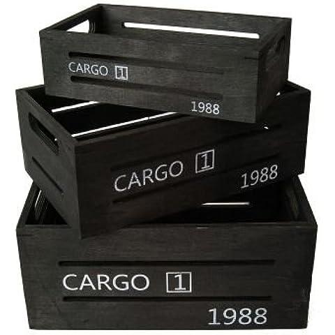 Scatola in legno Cargo Set di 3 Nero vino scatola decorativa cestino platino cesta portaoggetti di legno rilaccati - Nero Cargo Box