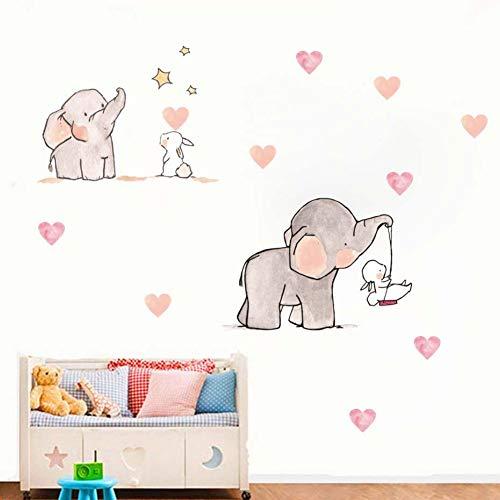 bdpq_wall Pegatina para habitación de bebé Adhesivo de pared de vinilo de conejo de elefante animal lindo para guardería infantil habitación de niñas decoración de pared Tamaño: 20 cm X 60 cm