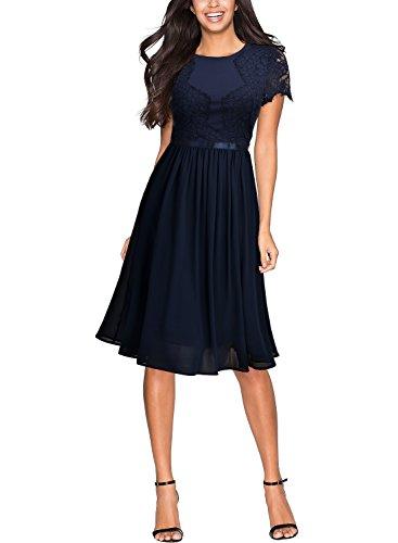 Miusol Damen Abendkleid Sommer Chiffon festlich Kleid Cocktailkleid Vinatge kleider Blau