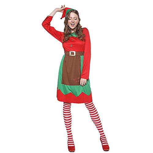 Frau Kostüm Elf Für - MLYWD Elf Kostüm Frau, Weihnachtskostüm, Weihnachtsmann Kostüm Party Cosplay Weihnachtsmann Kostüm Erwachsene Weihnachtskostüm und Weihnachtself Kostüm, Cosplay Kostüm Karneval Party Kleid