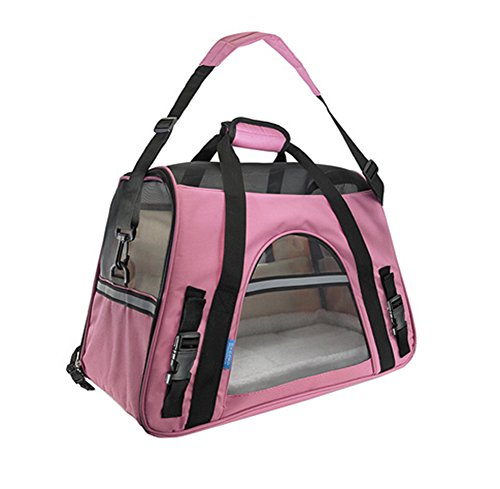 Haustier-Träger-weiche versah Reise-Tasche für kleine Hunde u. Katze- Airline Approved, Rosa (Rosa Airline)
