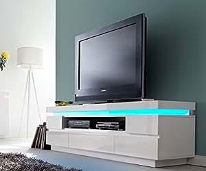 Orson meuble tV brillant blanc 175 x 40 cm avec éclairage