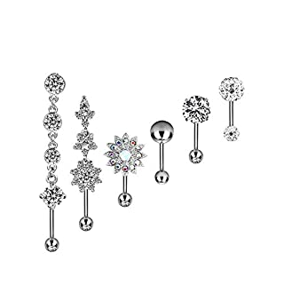 Lvcky 6 Pieces 14G Stainless Steel Belly Button Rings Navel Curved Barbell Piercing for Women, 6 Styles (Silver Tone)